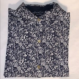 Nautica Small Navy & White Floral Button Down Top